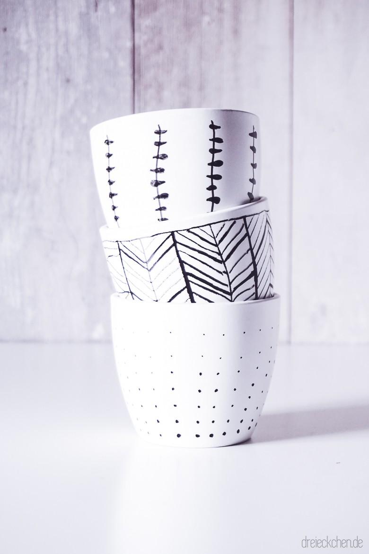 Keramik Blumentöpfen in schwarz weiß Muster skandinavischbemalt