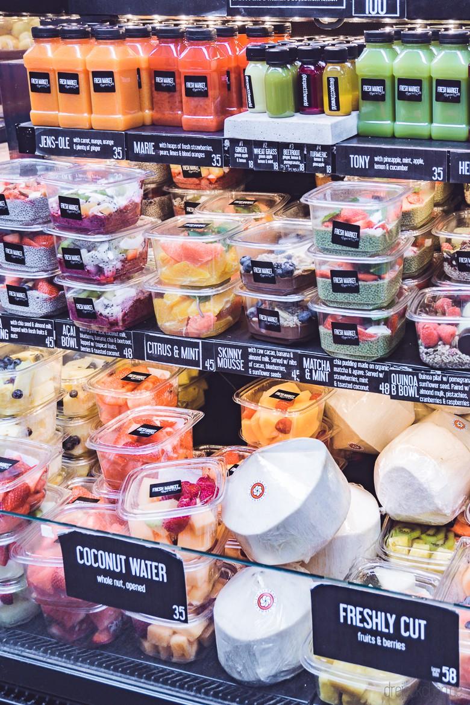 Grüne Smoothies, Ingwer Shots, Kokoswasser und Chia-Pudding gibt es alles in der Torvehallerne in Kopenhagen