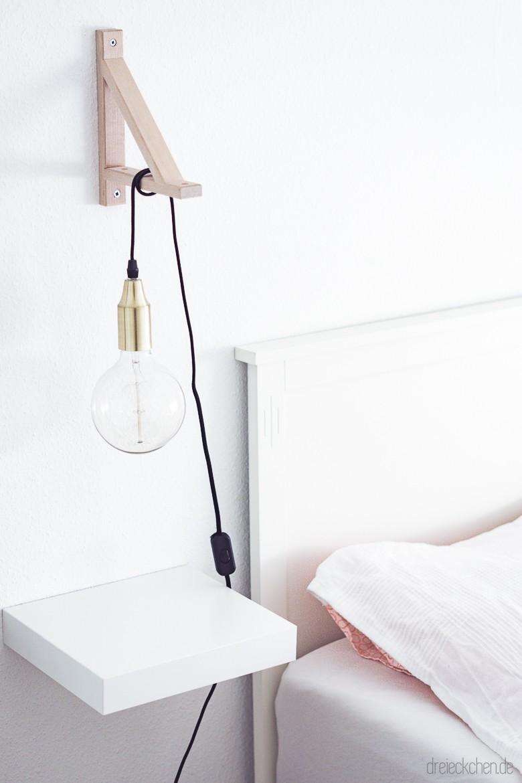 IKEA Bett mit Vintage Hängeleuchte in weiß - skandinavisch und hygge wohnen
