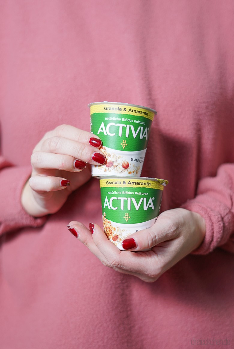 """Für meine Wohlfühlroutine: Mehr Zeit für ein ausgewogenes Frühstück mit dem ACTIVIA Joghurt """"mit Ballaststoffen"""" Granola & Amaranth - die neben Calcium und natürlichen Bifidus Kulturen auch Cerealien und Superfoods enthalten"""