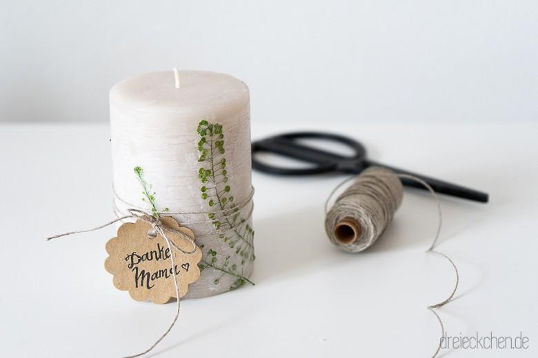 Muttertagsgeschenk Basteln Kerze Mit Getrockneten Blumen
