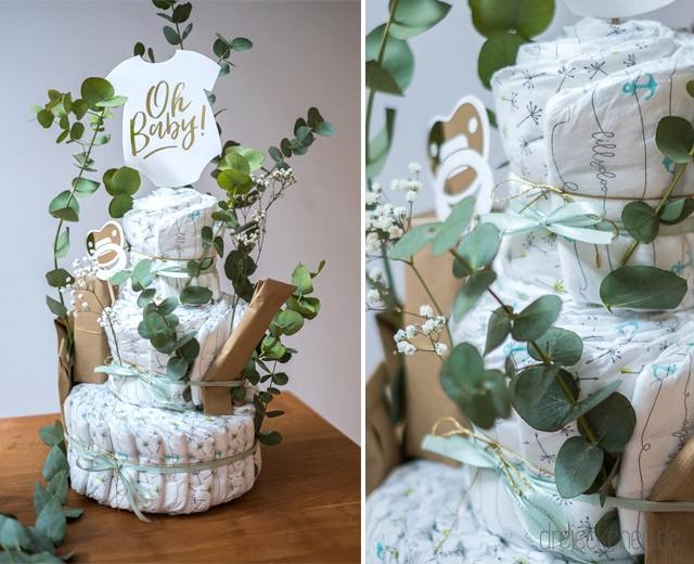 Windeltorte selbst basteln mit Eukalyptus für die Babyparty